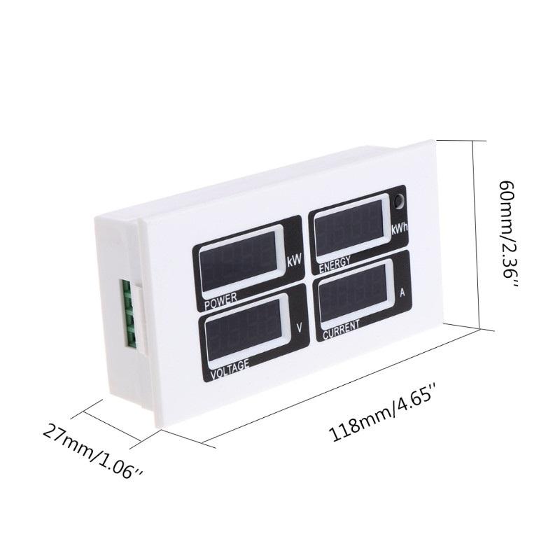 PZEM-004 D/étecteur dalimentation avec Alarme Avertisseur Affichage LCD Testeur de Tension Courant Puissance /Énergie AC 80-260V 100A Avec adaptateur USB CT
