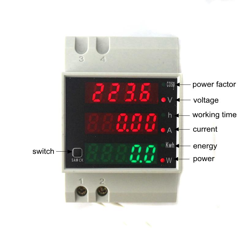 D52 2047 Wattmètre Numérique Monophasé Din Rail Voltmètre Ampèremètre Ac80 300v Ac 0 100a Maroc Dsindustriecom